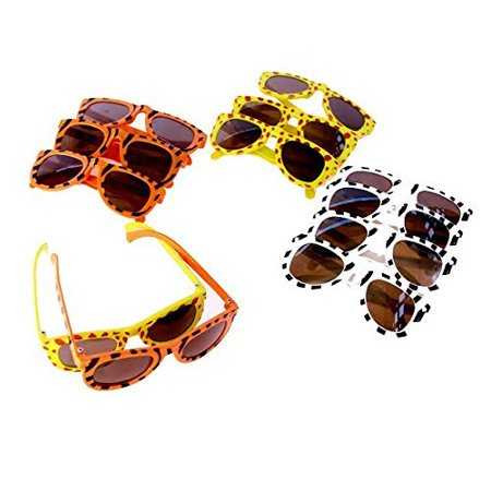 Bronze Zebra Sunglasses (Dazzling Toys Animal Print Sunglasses Assortment - Pack of 24 - Leopard, Tiger and Zebra)