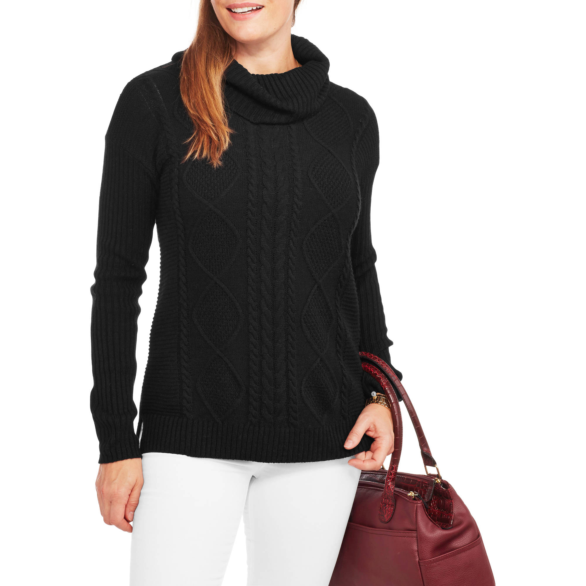 Faded Glory Women's Cowl Neck Pullover Sweater