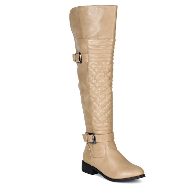 Women Leatherette Quilted Knee High Riding Boot BF20