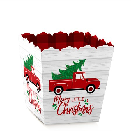 Merry Little Christmas Tree - Party Mini Favor Boxes - Red Truck Christmas Party Treat Candy Boxes - Set of 12 Mini Treat Boxes