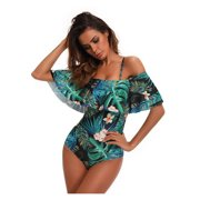 CJCMALL Juniors' Swimsuit Set Vintage Floral Printed Off Shoulder Flounce Ruffled Padded Swimwear Women One Piece Bikini Bathing Suits