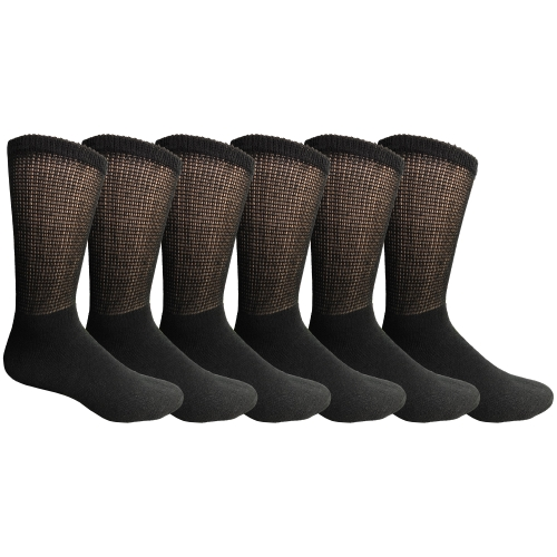6 Pair Of excell Mens Black Diabetic Neuropathy Socks, Sock Size 10-13