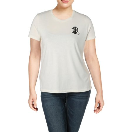 Beaded Cotton T-shirt (Lauren Ralph Lauren Womens Beaded Short Sleeves Logo T-Shirt Beige XL)
