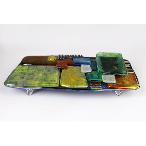 Jasmine Art Glass Cheese Plate