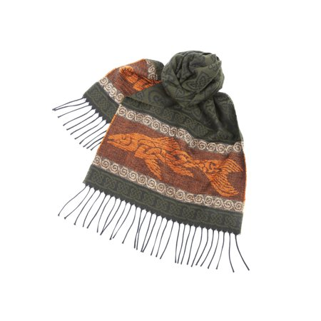 Women's Fish Scarf - Green and Orange - Celtic Beasties Collection - 75