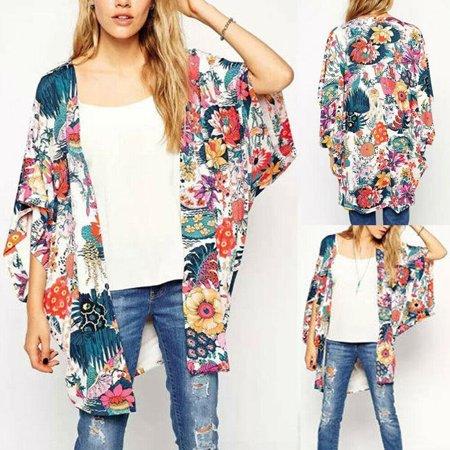The Noble Collection Women Vintage Floral Beach Shawl Kimono Cardigan Boho Chiffon Tops Jacket Blouse