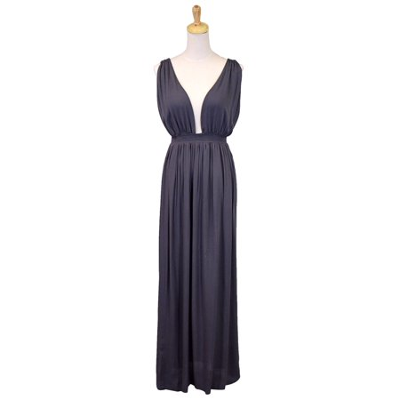 Audrey 3+1 Elegant Goddess Deep V-Neckline Sleeveless Dress With Low Cut - Dress Like A Greek Goddess
