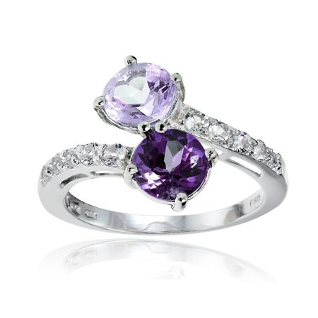 Sterling Silver African Amethyst, Amethyst and White Topaz Friendship Ring - Purple ()