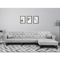 URHOMEPRO Mid Century Couches and Sofas, Modern Reversible Sectional Sofa Couch with Solid Wood Legs, Metal Nails Armrests Microfiber Fabric Bedroom Furniture Couch for Living Room, Gray, Q10939