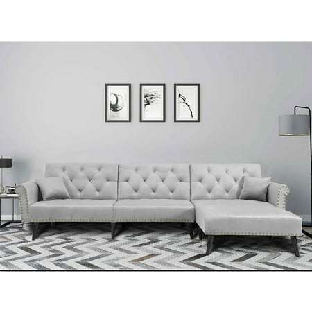 Clearance! Modern Reversible Sectional Sofa Couch, Mid Century Couches and Sofas with Solid Wood Legs, Metal Nails Armrests Microfiber Fabric Bedroom Furniture Couch for Living Room, Gray, Q10944