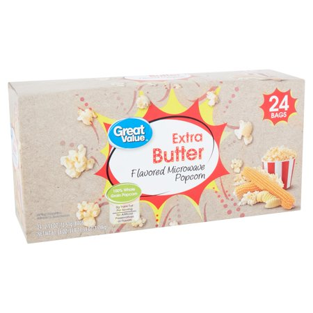 Great Value Extra Butter Flavored Microwave Popcorn, 2.55 Oz., 24
