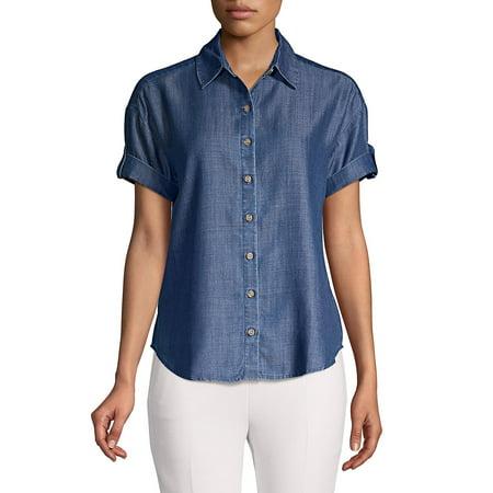 Petite Short Sleeve Denim Button Front Shirt