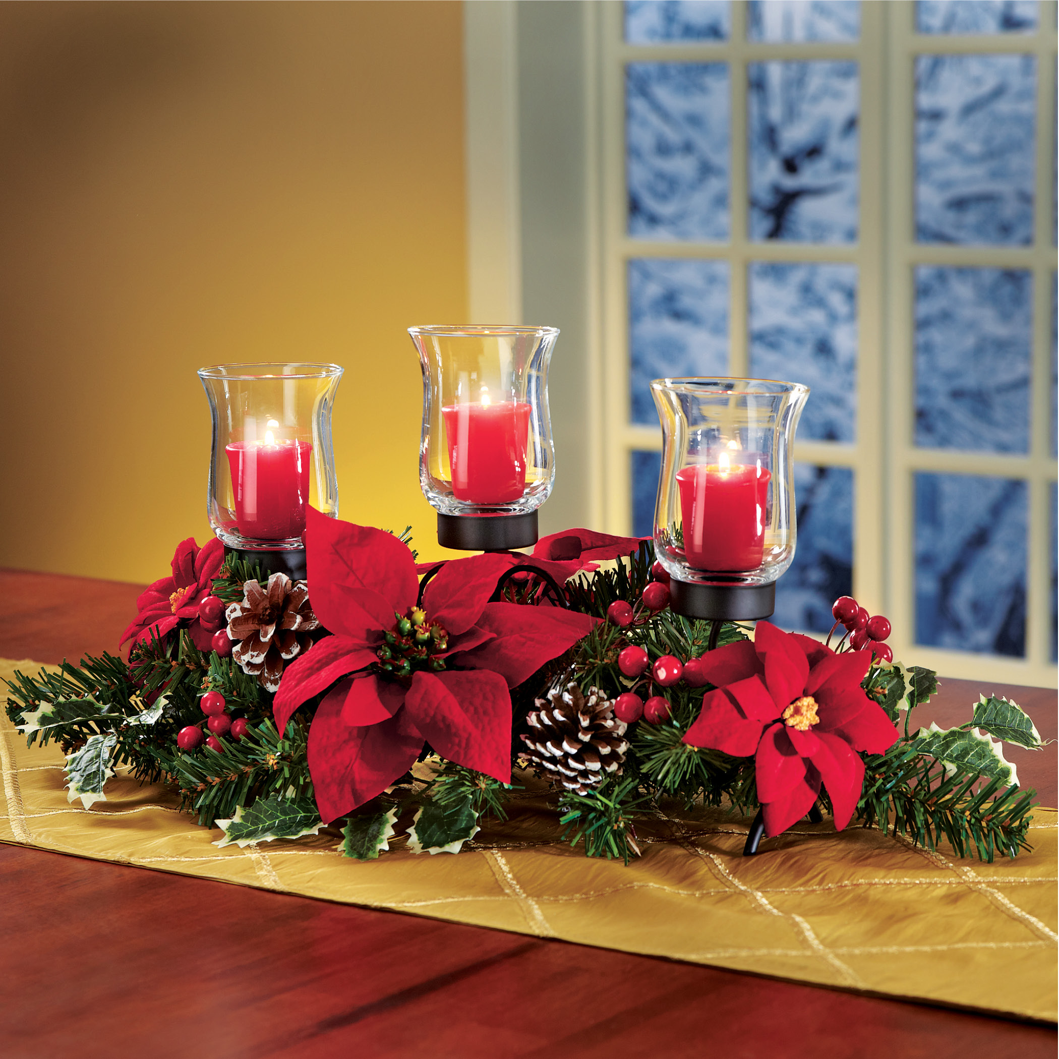centerpiece christmas candle holder poinsettia pinecones