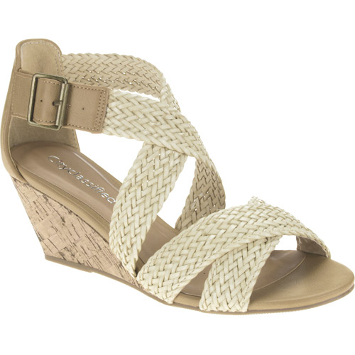 City Classified Women's Evelyn Woven Low Wedge Sandals
