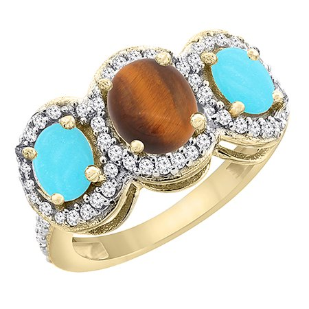 10K Yellow Gold Natural Tiger Eye & Turquoise 3-Stone Ring Oval Diamond Accent, size 7