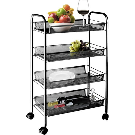4-Tier Wire Metal Mesh Shelves, Heavy Duty Utility Rolling Cart Trolley, Storage Organizer Easy Moving Cart Shelving Units for for Kitchen Office Bedroom Bathroom Washroom, L2384 ()