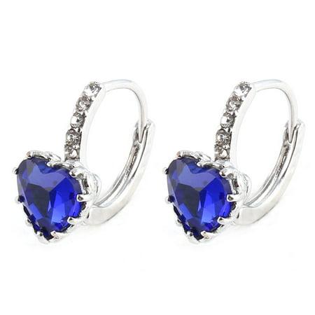 Women Metal Heart Shaped Faux Rhinestone Eardrop Hoop Earrings Dark Blue Pair