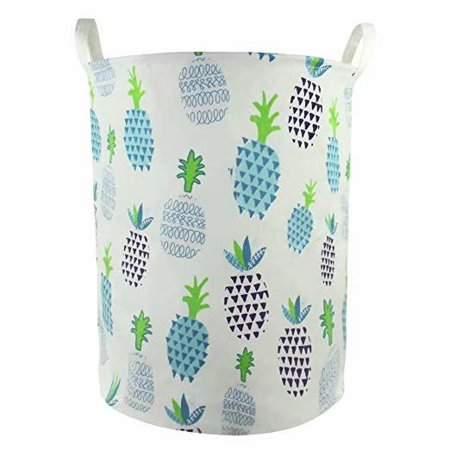 19 x 16.5 Inches Extra Large Canvas Fabric Folding Storage bin with Handle Waterproof Home Decor Laundry Hamper Organize Pineapple Storage Baskets for Dirty Clothes, Toy (Blue) ()