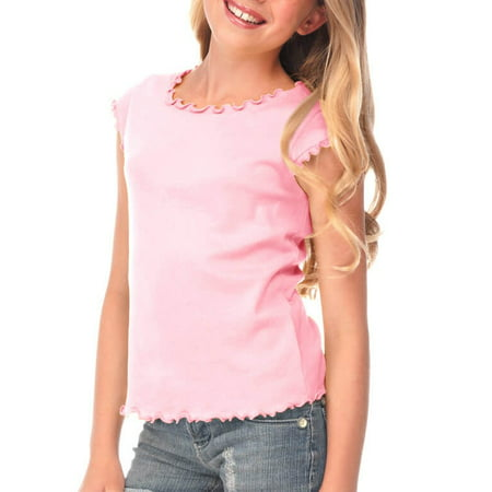Lettuce Edge Shirt - Kavio! Big Girls 7-16 Lettuce Edge Scoop Neck Cap Sleeve Top Baby Pink XL