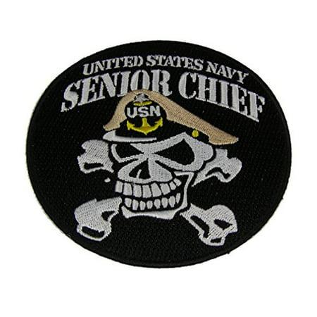UNITED STATES NAVY SENIOR CHIEF SKULL and CROSSBONES ROUND PATCH - Color - Veteran Owned - Skull Crossbones