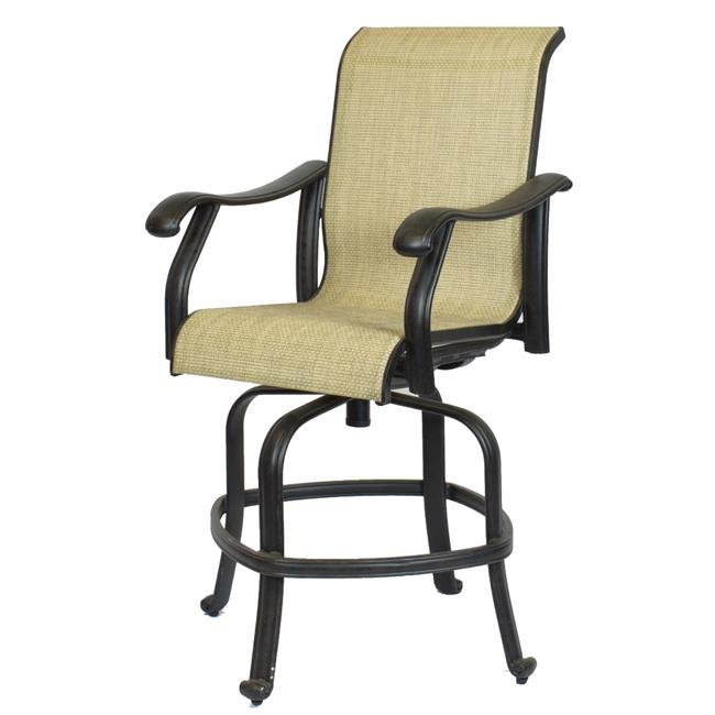 Comfort Care CC04C Cast Aluminum Sling Counter Outdoor Barstool - 47.4 x 26.4 x 32.1 in. - Set of 2