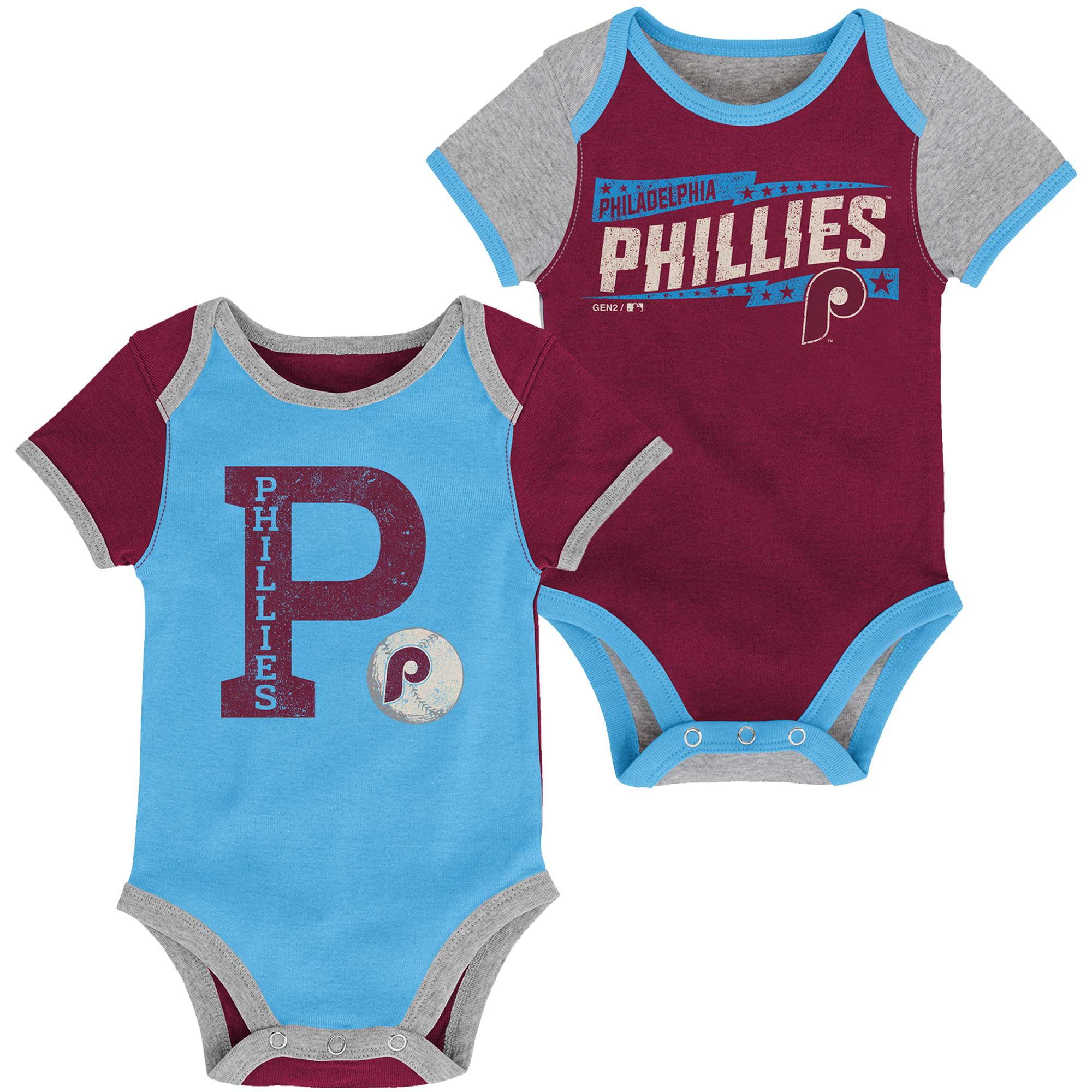 Philadelphia Phillies Newborn Baseball Star Two-Pack Bodysuit Set - Maroon/Light Blue