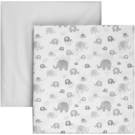 Tadpoles 2-Piece Microfiber Crib Fitted Sheets, Grey Elephant (Fitted Crib Sheet Grey)