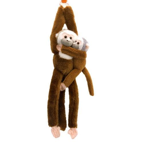 Wild Republic Hanging Squirrel Monkey with Baby Stuffed Animal