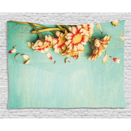 Shabby Chic Decor Tapestry, Bunch of Gerbera Flowers on Turquoise Wooden Board Seasonal Nature Border, Wall Hanging for Bedroom Living Room Dorm Decor, 80W X 60L Inches, Multicolor, by Ambesonne
