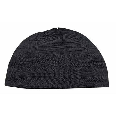 TheKufi® Black Cotton Stretch-Knit Kufi Hat Skull Cap - Comfortable Fit - Unique