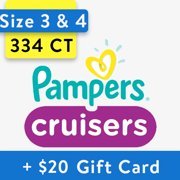 [Save $20] Size 3 & Size 4 Pampers Cruisers Diapers, 334 Total Diapers