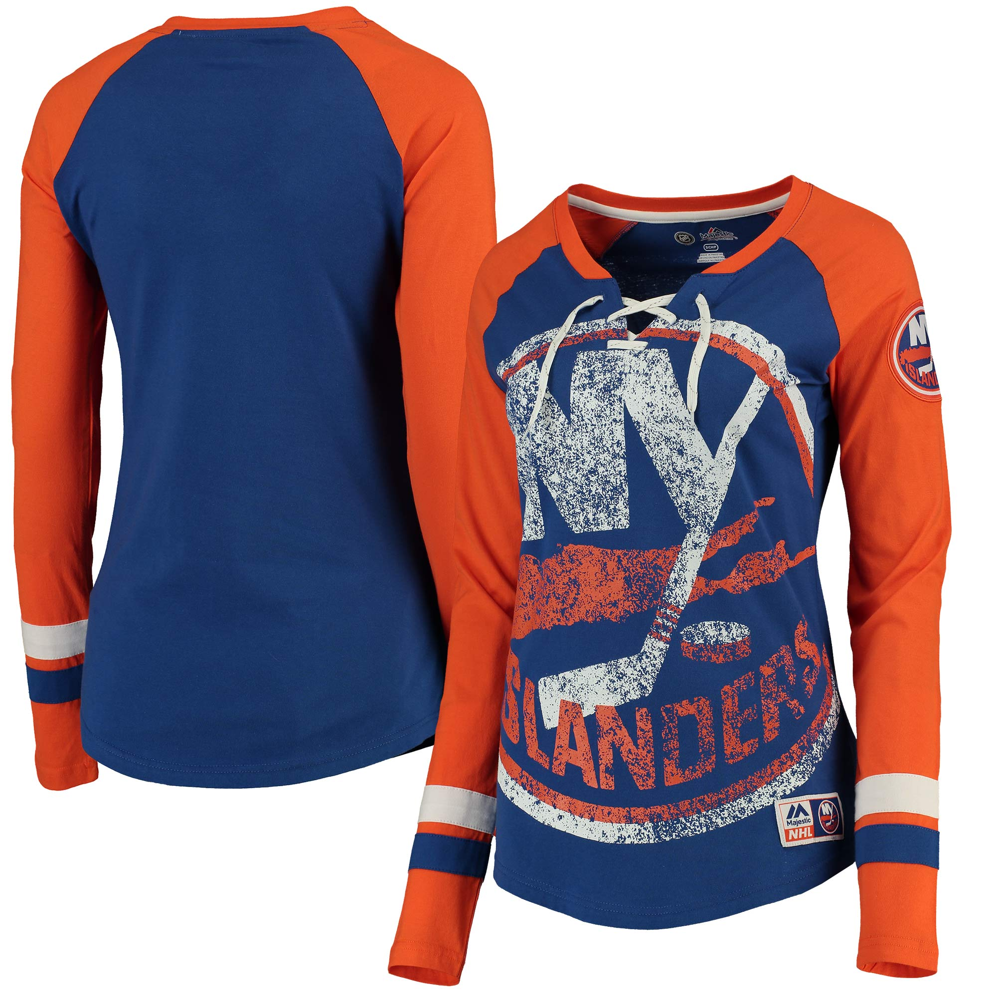 Women's Majestic Royal New York Islanders Vintage Hip Check Lacer Long Sleeve T-Shirt