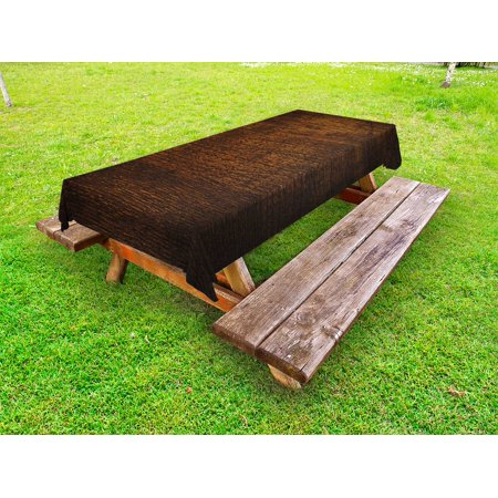 Wooden Outdoor Tablecloth, Old Vintage Antique Timber Oak Background Rustic Floor Artisan Photo Print, Decorative Washable Fabric Picnic Table Cloth, 58 X 84 Inches,Chestnut and Brown, by Ambesonne ()