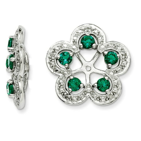 925 Sterling Silver (.029cttw) Diamond and Simulated Emerald Earring Jacket (16mm x 15mm)