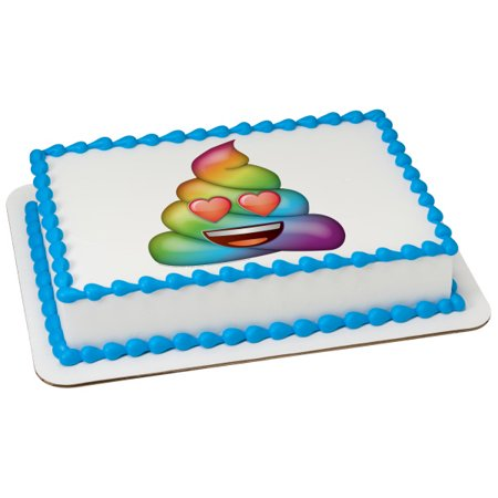 Emoji Rainbow Love Poo Poop 75 Round Image Cake Topper Edible Birthday Party