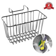 Sponge Holder, WeGuard 304 Stainless Steel Multifunctional Sponge Holder for Kitchen Sink Cabby Hanging Basket - Silver