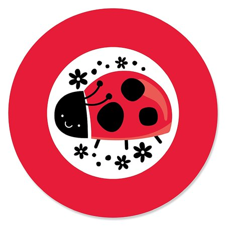 Happy Little Ladybug - Baby Shower or Birthday Party Circle Sticker Labels - 24 Count - Lady Bug Party