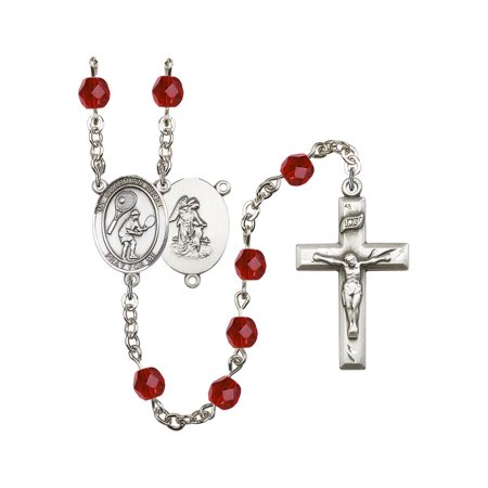 Guardian Angel / Tennis Silver-Plated Rosary 6mm July Red Fire Polished Beads Crucifix Size 1 3/8 x 3/4 medal charm - Engraved Tennis Medal