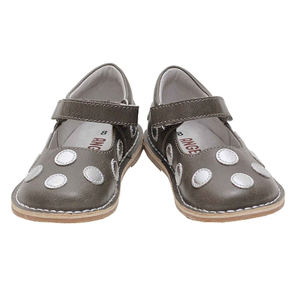 L'Amour Grey Silver Dot Velcro Little Strap Mary Jane Shoe Little Velcro Girl 11-12 717eef