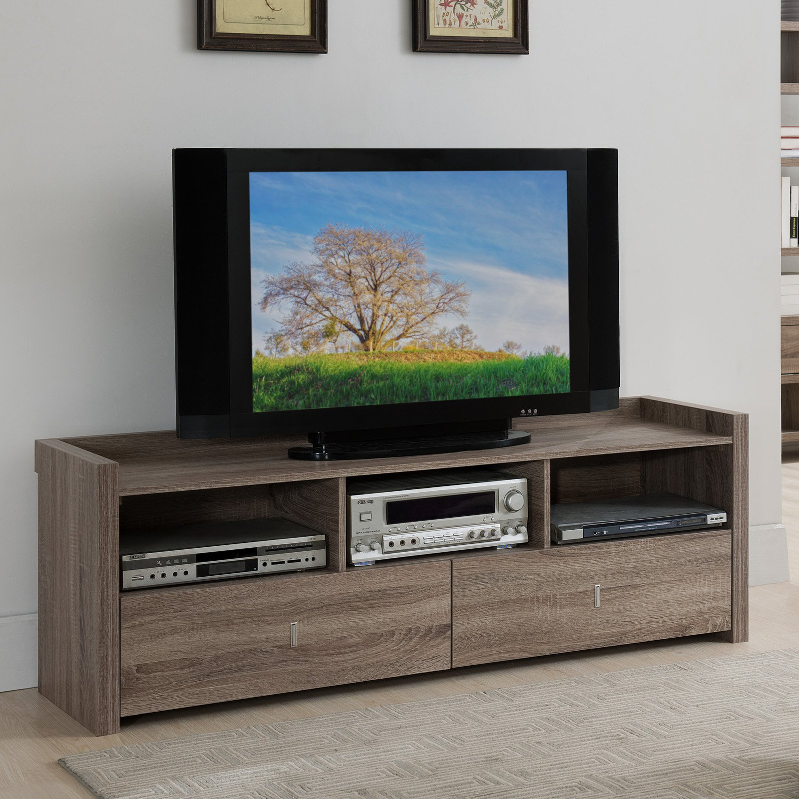 Furniture Of America Parker Multi Storage TV Stand   Light Oak   Walmart.com
