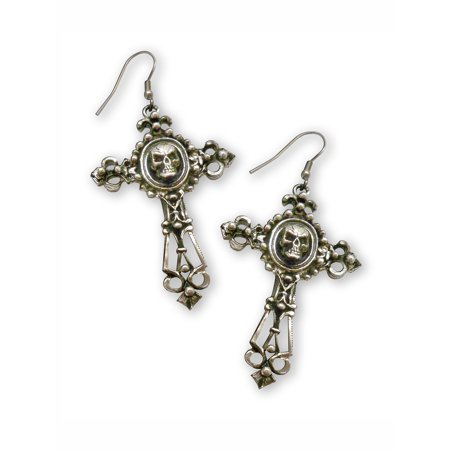 Gothic Skull on Filigree Cross Silver Finish Pewter Dangle Earrings by Real Metal Jewelry