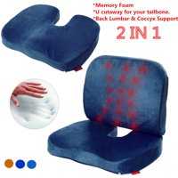Memory Foam U Cutaway Back Lumbar & Coccyx Support Pillows Deep Seat Cushion Set Two Piece Set Sciatica & Pain Relief Seat Chair or Car Cushion Blue
