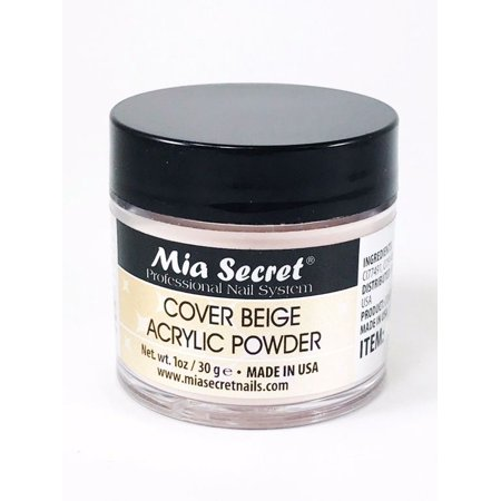Mia Secret Acrylic Powder Cover 1 oz Beige for Nail Bed USA MADE+ Free Temporary Body Tatoo!