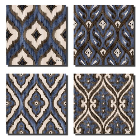 12x12 Patterned - Blue Brown and White Indigo Ikat Patterned Prints; Four 12x12 Poster Prints