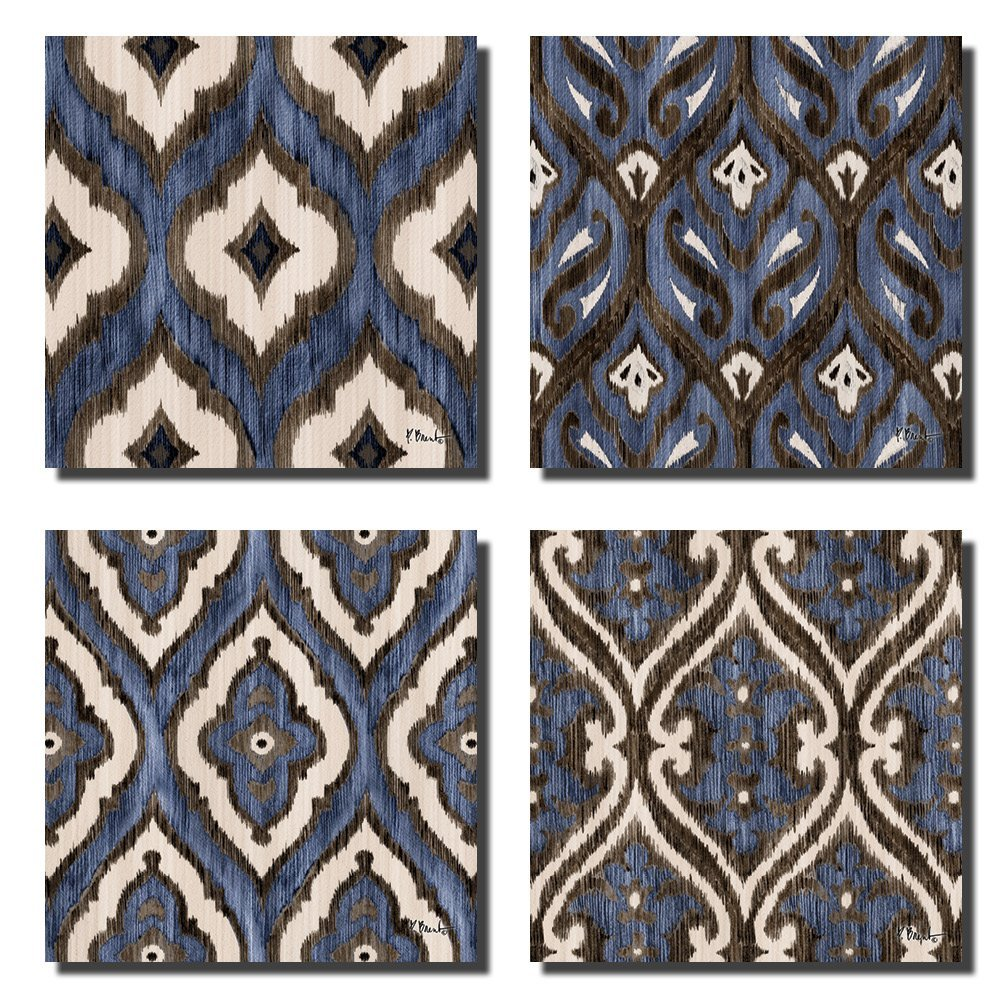 Blue Brown and White Indigo Ikat Patterned Prints; Four 12x12 Poster Prints