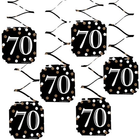 Adult 70th Birthday - Gold - Birthday Party Hanging Decorations - 6