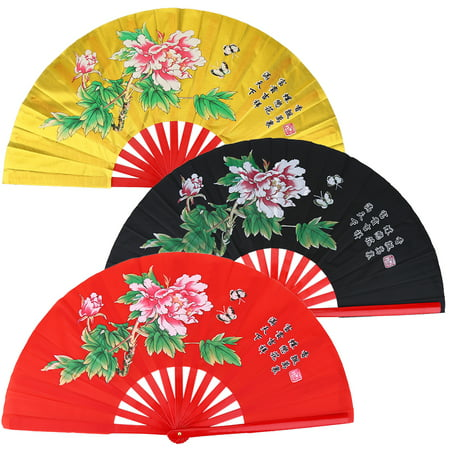 Yosoo Tai Chi Martial Arts Kung Fu Bamboo Silk Fan Right Hand Wushu Dance Pratice Training, Dance Fan, Silk Fan - Halloween Sports Fan