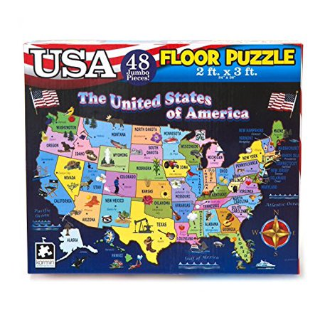 Educational USA Floor Map 48 Piece Floor Puzzle Measures 24 x 36 Inches Filled With Interesting And Exciting Information A bout All The States - image 1 de 1