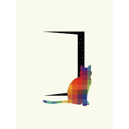 Curiosity Colorful Cat Silhouette Minimal Hipster Graphic Design Print Wall Art By Andy Westface (Silhouette Titan Minimal Art)