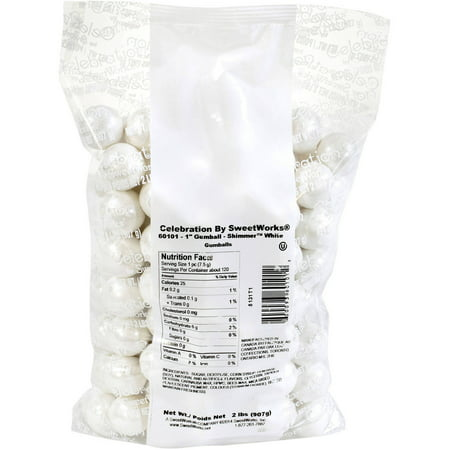 Celebration by SweetWorks White Shimmer Gumballs, 2 lbs - Mini Gumballs By Color